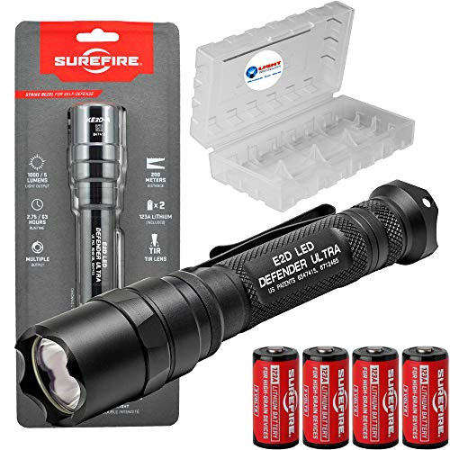 SureFire E2D Defender Ultra E2DLU-A Dual-Output 1000 Lumens Tactical LED Flashlight Bundle with 4...