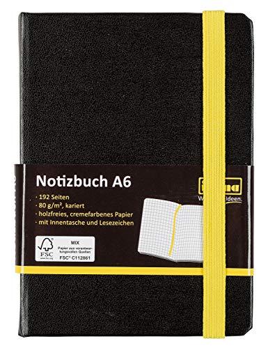 Idena 10699 Notizbuch FSC-Mix, A6, kariert, Papier cremefarben, 96 Blatt, 80 g/m², Hardcover in schwarz, 1 Stück
