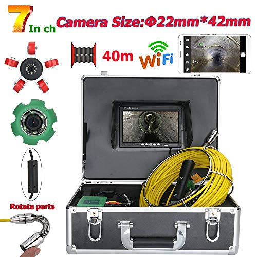 7inch 22mm WiFi draadloos DVR Pipe Inspectie Video Camera, IP68 waterdicht Drain Pipe Riool Inspectie Camera System 1000 TVL camera met 6W LED-verlichting,40m