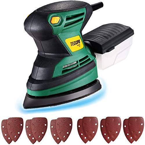 TECCPO Levigatrice Mouse 200W, 15500 RPM, 12 Carte Abrasive (6 di 60 Graniglie, 6 di 120 Graniglie), Contenitore per polvere, per Ristrutturazione di Casa Levigatura, Lucidatura e Ceratura -TAMS23P