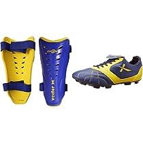Vector X Brazil Shin pad, Small (Blue/Yellow)+Vector X Armour Football Shoes (4)
