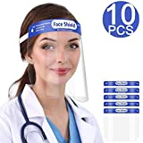 [US STOCK]10Pcs Value Pack Safety Face Shield with Protective Clear Film To Protect Eyes and Face Full Face Shield With Elastic Band and Comfort Sponge