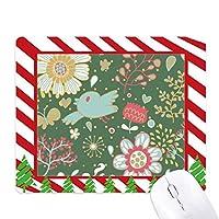 ダークグリーンの花の植物塗料 ゴムクリスマスキャンディマウスパッド