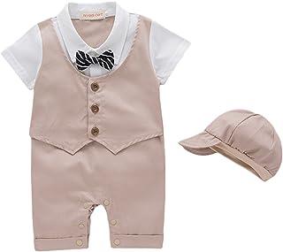 G-Kids Baby Jungen Strampler Smoking Gentleman Strampler Sommer Kleidung Outfit Taufkleidung Fliege mit Hut