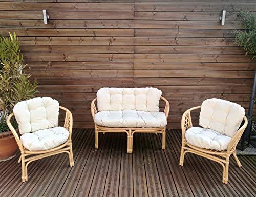 Mayaadi-Home Gartenbankauflagen 6 teiliges Sitzkissen-Set Sitzpolster für Gartengarnitur Set Steve Creme JCG1