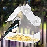 ZKZKK Acrylic Clear House Fenster Bird Feeder Vogelhaus mit Saugen im Freien Garten-Fütterung