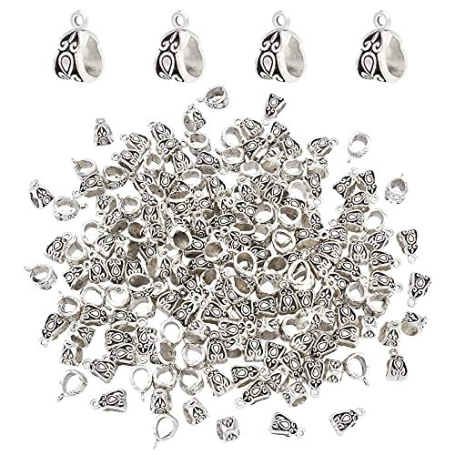 PandaHall 190 cuentas de plata tibetana con diseño de tubo de fianza de plata tibetana con agujero curvado, colgante de pulsera europea