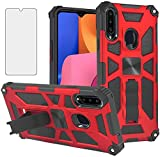 Asuwish Compatible with Moto E 2020 Case Tempered Glass Screen Protector Cover and Cell Accessories Stand Kickstand TPU Dual Layer Phone Cases for Motorola MotoE Generation Gen XT2052DL XT2052-1 Red