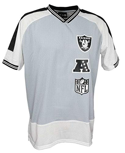 New Era NFL Camiseta de fútbol americano, diseño de New England Patriots, Seahawks, Steelers, Packers, Raiders, Cowboys, Cardinals, Eagles, Giants, Falcons, Raiders-Stacked-Grey, extra-large