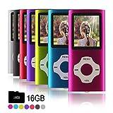 Ueleknight Lecteur MP3 MP4 avec Carte Micro SD 16G, Lecteur de Musique Numérique Portable/Vidéo/E-Book/Visualisation d'images, Lecteur de Musique économique avec écran de 1,8 Pouces –Rose