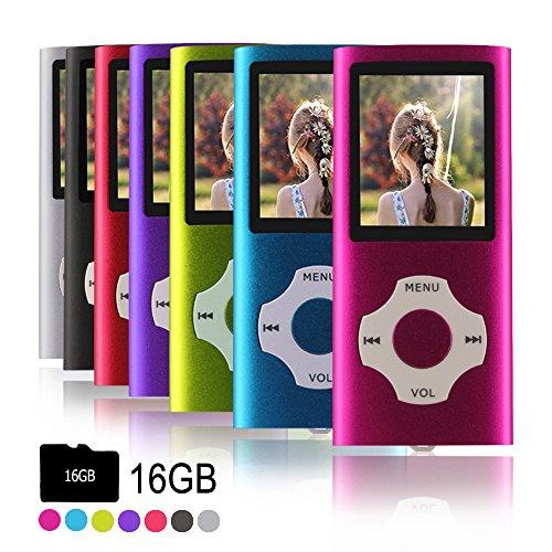 Ueleknight MP3 / MP4 Portable Player mit einer 16 GB Micro SD-Karte, kann auch als Musik-Player, Foto-Viewer, E-Book-Reader, Diktiergerät verwendet werden-Rosa