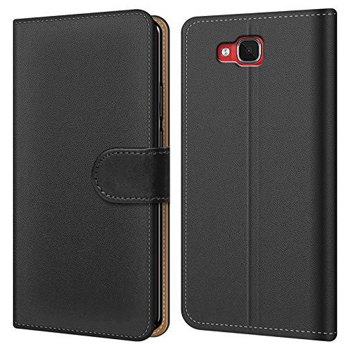 Conie BW45267 Basic Wallet Kompatibel mit Wiko Slide, Booklet PU Leder Hülle Tasche mit Kartenfächer & Aufstellfunktion für Slide Hülle Schwarz