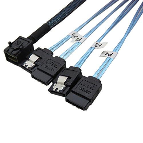 CableDeconn interne HD Mini SAS (SFF-8643 Host) zu 4 x SATA (Target) Festplatte Kabel (0.5M)