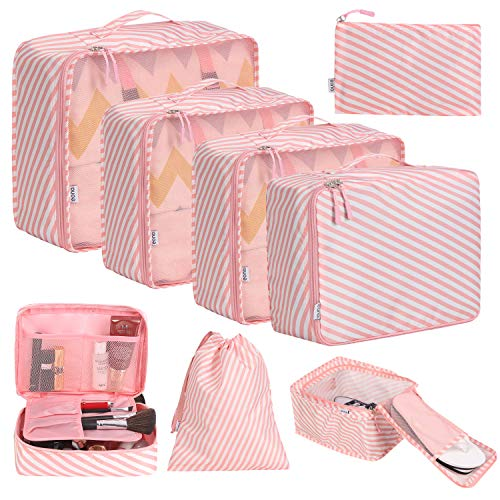 Eono by Amazon - 8 Pcs Packing Cubes for Suitcase Lightweight Luggage Packing Organizers Packing Cubes for Travel Accessories, Stripe