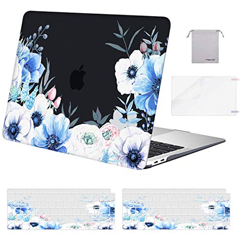 MOSISO MacBook Air 13 inch Case 2018-2020 A2337 M1 A2179 A1932, Plastic Myosotis Hard Shell & Keyboard Cover & Screen Protector & Storage Bag Only Compatible with MacBook Air 13 inch Retina, Black