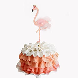 Glitter Pink Fine Feather Aloha Flamingo Baby Birthday Party Cake Topper