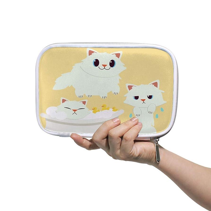急性評議会ニックネームZHIMI 化粧ポーチ メイクポーチ レディース コンパクト 柔らかい おしゃれ コスメケース 化粧品収納バッグ シャワーを浴びる可愛い猫 機能的 防水 軽量 小物入れ 出張 海外旅行グッズ パスポートケースとしても適用