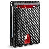 RUNBOX Minimalist Slim Wallet for Men with Money Clip RFID Blocking Front Pocket Leather Mens Wallets(carbon black)