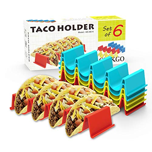 GINKGO Taco Holder Stand Set of 6 - Taco Truck Tray Style Rack, Holds Up to 4 Tacos Each, ABS Health Material Very Hard and Sturdy, Dishwasher Top Rack Safe, Microwave Safe