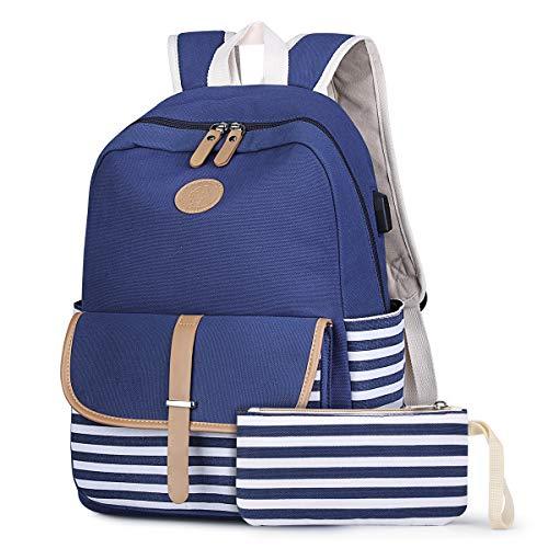 S-ZONE Sac à dos à rayures de style marin pour adolescentes, noir et USB, bleu (Bleu) - .