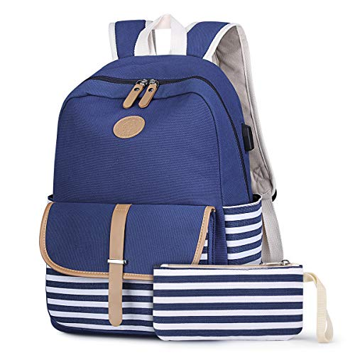 S-ZONE French Breton Nautical Striped Backpack Rucksack Marine Sailor Navy Stripy School Bags for Teenager Girls (Blue-USB Version)