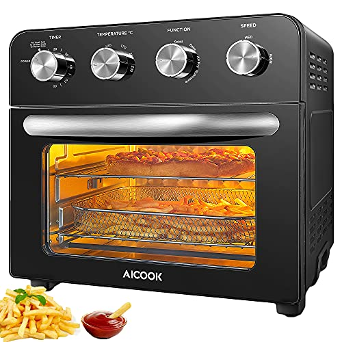 10-in-1 Air Fryer Oven, AICOOK 23L Countertop Convection Mini Oven Electric with Dehydrator & Rotisserie Function, Fry Oil-Free, Cooking Accessories and Recipe Included, Stainless Steel, Black, 1700W