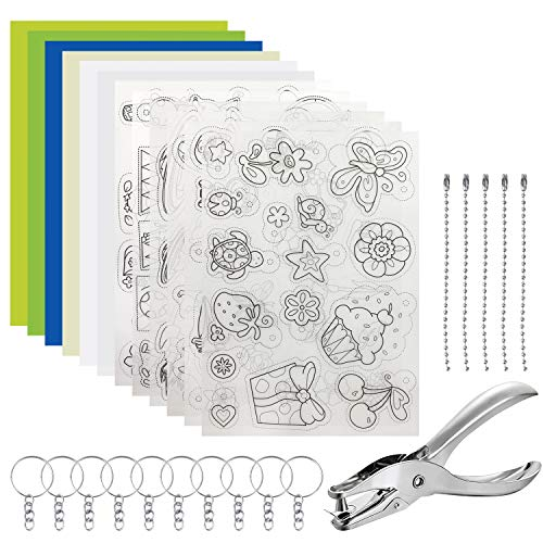 Kaari Schrumpfpapier,A4 0.3 mm,Enthält 6 Schrumpfkunstpapier mit Muster und 6 Schrumpfkunstpapier (zufällige Farbe), Locher, Schlüsselanhängerzubehör