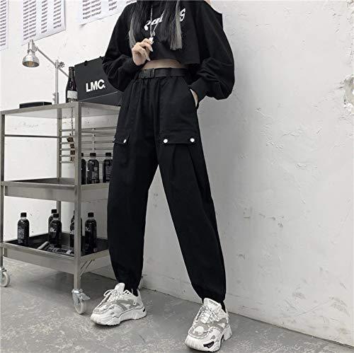 haochenli188 Vintage Patchwork Pantalones Harajuku Mujer Pantalones EláSticos De Cintura Alta Pantalones De CháNdal Rectos Coreanos Ropa De Basculador M Negro