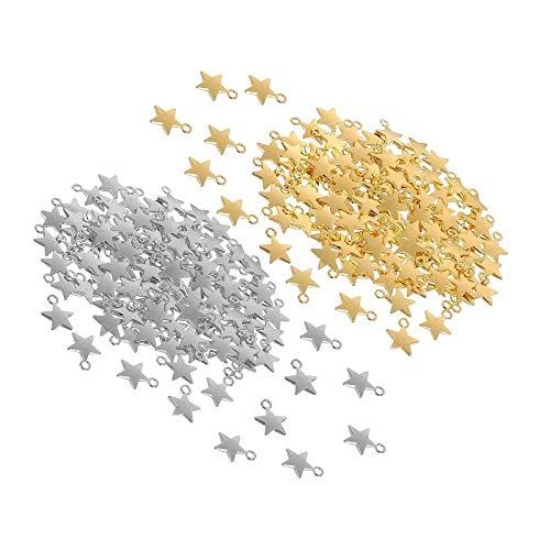 Colgantes de estrella mini forma para pulsera de bricolaje collar pendiente joyería oro plata 220pcs