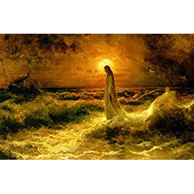 Hand Painted Jesus Christ Walking on The Water Oil Painting on Canvas Ready to Hang for Home Wall Decor