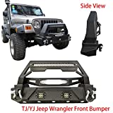 Vijay Jeep Front Bumper Black Texture with 2x20W LED Lights and 120W LED Strips & Winch Plate for 1987-2006 Jeep Wrangler TJ/YJ