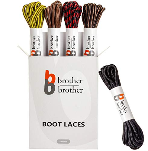 BB BROTHER BROTHER Colored Replacement Boot Laces [5 Pairs] of Heavy Duty Durable and Tough Round Shoe laces for Outdoor, Mountaineering, Winter, Work, Hiking, Hunting, Walking Boots Shoelaces/Strings