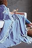 Mixibaby Tagesdecke Wohndecke Wendedecke Kuscheldeck Sofadecke Couchdecke, Farbe Design:Blau Fischgräten Design