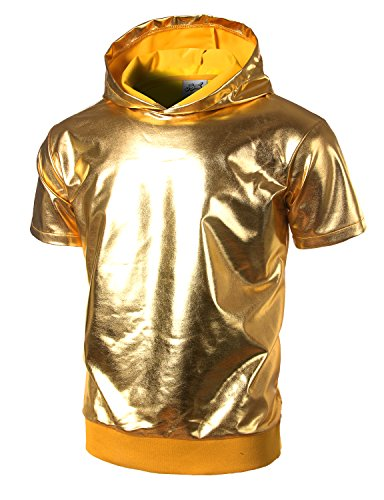 JOGAL Metallic Gold Shirts Nightclub Styles Hoodies X-Large Gold