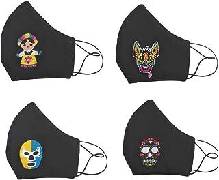 """BY MEXICO Cubrebocas lavables negros con 4 diferentes parches de mascara de luchador""""shishitas"""", Muñeca Juanita, Xolo Chil..."""