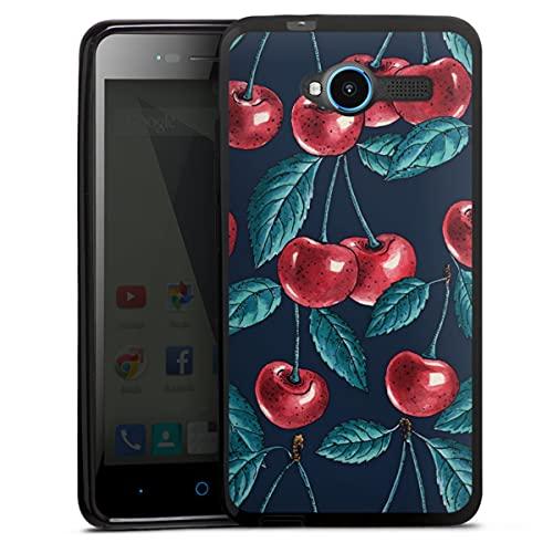 DeinDesign Silikon Hülle kompatibel mit ZTE Blade L3 Hülle schwarz Handyhülle Kirsche Obst Malerei