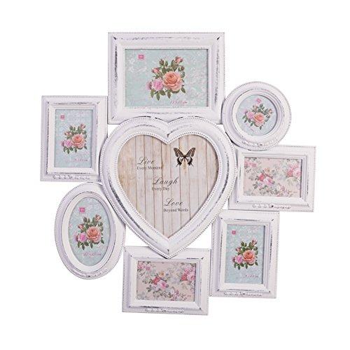 elbmöbel Bilderrahmen Collage Shabby chic weiß antik aus Holz Fotorahmen mit Herzform