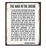 Teddy Roosevelt Man in the Arena Inspirational Quote Wall Art Print - Rustic 8x10 Sign Poster Photo - Home, Dorm, Office Decor - Motivational Gift for Entrepreneur, Graduation, Student - Unframed