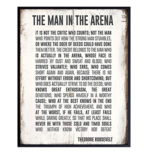 Teddy Roosevelt Man in the Arena Inspirational Quote Wall Art Print - Rustic 8x10 Wood Sign Replica Poster Photo - Home, Dorm, Office Decor - Motivational Gift for Entrepreneur, Graduation, Student