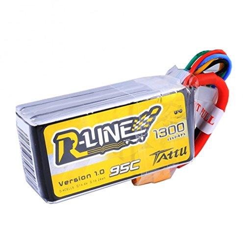 TATTU Rline Lipo Batteria Pack 1300mAh 14.8V 95C 4S for FPV Racing QUADCOPTERS Elicottero Aerei e modellini di Barche