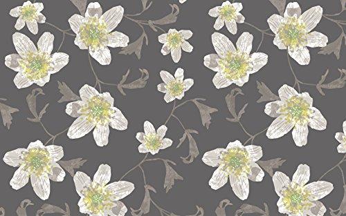 ecosoul Nappe en toile cirée Layla - Motif floral - Au mètre - Gris taupe blanc vert jaune - Lavable - Aspect lin - Largeur : 140 cm - Longueur au choix (100 cm)