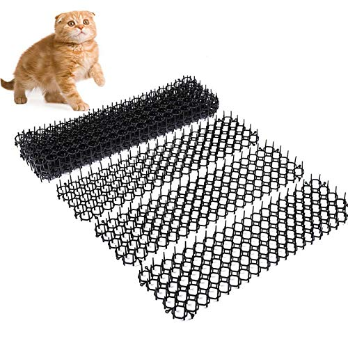 MOVKZACV Alfombrilla de gato con puntas de plástico, para jardín, anti gato, antipinchos, tiras de plástico, 10 unidades