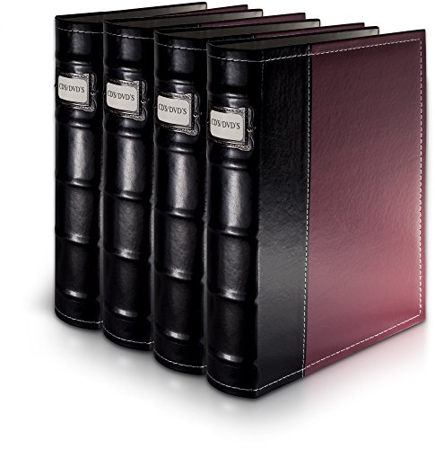Bellagio-Italia Burgandy Leather Disc Storage Binder Perfect for CDs, DVDs, Blu-Rays, and Video Games - 4 Pack