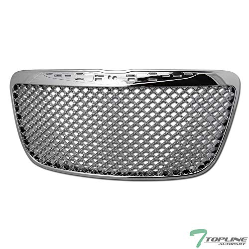 Topline Autopart Chrome Mesh Front Hood Bumper Grill Grille ABS For 11-14 Chrysler 300 / 300C