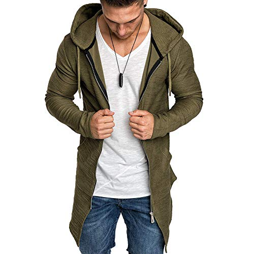 VANVENE - Sudadera con capucha para hombre con cremallera