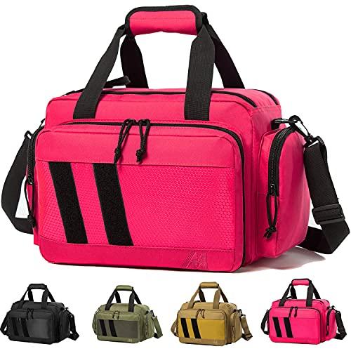 MERALIAN Range Bag -Tactical Gun Range Bag for Handguns,Pistols and Ammo.Padded Shooting Range Duffle Bag for Hunting Shooting Range Sport. (Pink)
