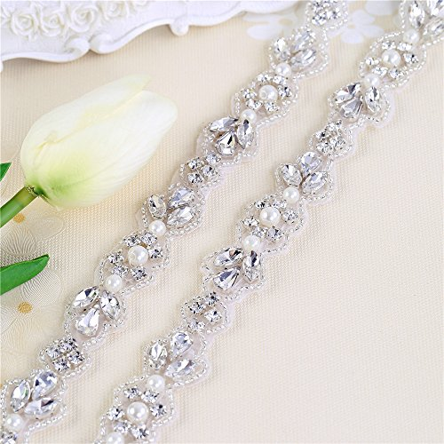 Rhinestone Applique for Bridal Belt Sash with Crystals and Pearls-Hot Fix or Sew on-1 Yard
