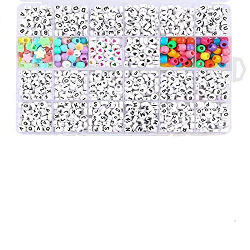 Aiong Abalorios para Hacer Pulseras, 1200 Abalorios con Letras, tamaño de empaquetado 19.5X13.5X2.3Cm, Hechos a Mano para Varios Festivales