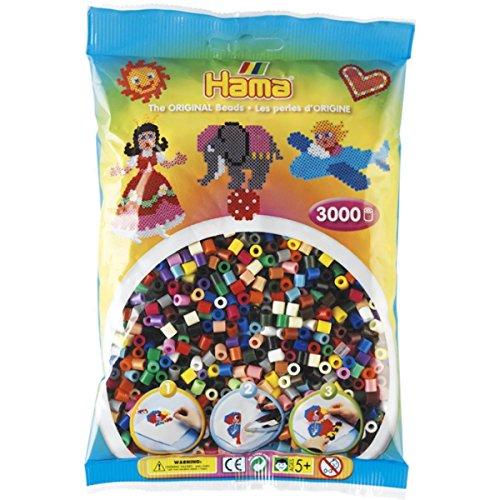 Hama - 201-67 - Loisirs Créatifs - Sachet 3000 Perles à Repasser - Taille Midi - Mix 22 Couleurs