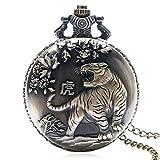 Monland Vintage Gro?e Bronze Gepr?gte Tiger Absteigen Vintage Taschen Uhr